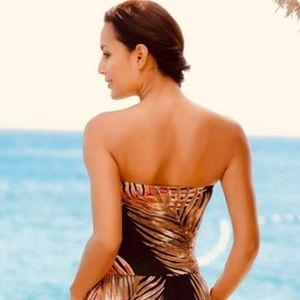 Beautiful Palm Leaf Maxi Dress with pockets